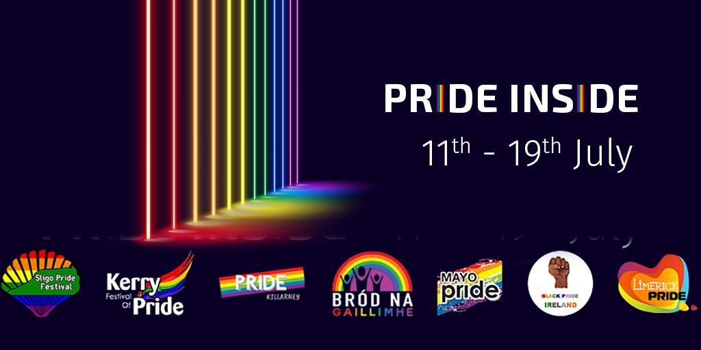 PRIDE INSIDE | 11th – 19th July | Sligo Pride logo | Kerry Pride logo | Galway Pride logo | Mayo Pride logo | Black Pride Ireland logo | Limerick Pride logo