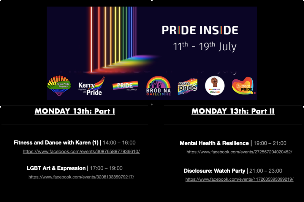 PRIDE INSIDE: 11th – 19th July Logos: Sligo Pride, Kerry Pride, Killarney Pride, Galway Community Pride, Mayo Pride, Black Pride Ireland, Limerick LGBTQ Pride. MONDAY 13th: Part I Fitness and Dance with Karen (1) | 14:00 – 16:00 https://www.facebook.com/events/3087658977936610/ LGBT Art & Expression | 17:00 – 19:00 https://www.facebook.com/events/320810385979217/ MONDAY 13th: Part II Mental Health & Resilience | 19:00 – 21:00 https://www.facebook.com/events/272567204020452/ Disclosure: Watch Party | 21:00 – 23:00 https://www.facebook.com/events/1172635393099219/